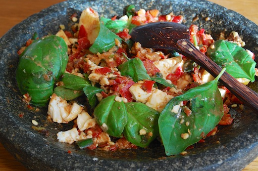 Sambal telor — chilli with boiled eggs and fresh basil