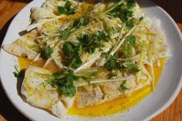 Cod with ginger, garlic & spring onions