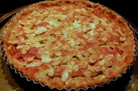 Rhubarb and almond tart