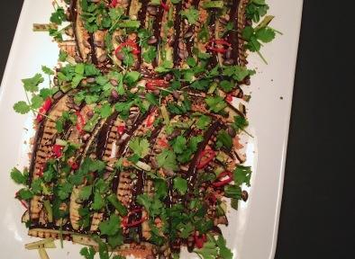 Griddled aubergine strips