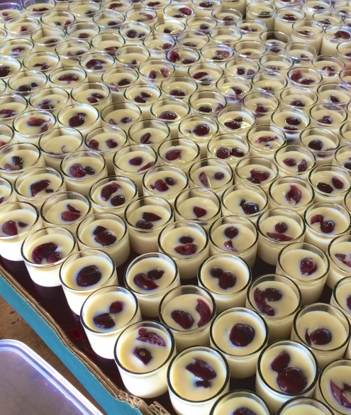 Fruit jelly topped with crème anglaise