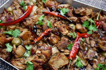 Roast duck with olives & chillies