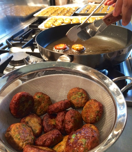 Thai fish cakes in the making