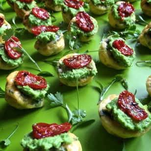 Frittata topped with pea purée & sun-dried tomatoes