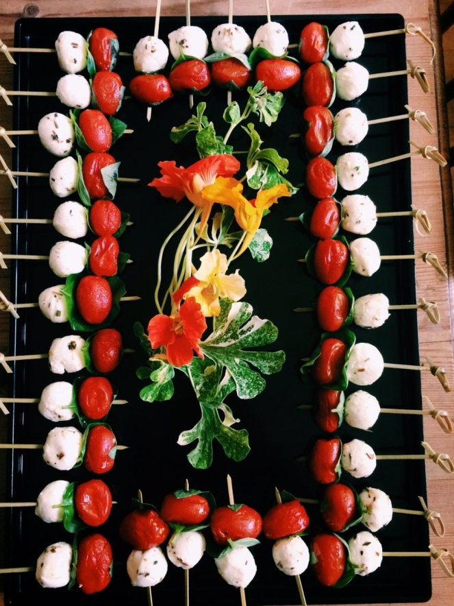Mozzarella, tomatoes & basil on a stick