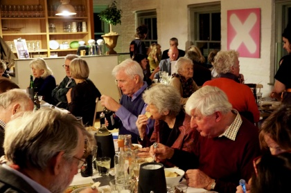Pop-up guests concentrate hard on their meal